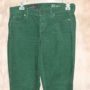 J.Crew Matchstick Green Corduroy Jeans Pants 25
